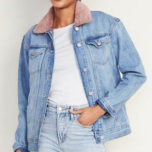 Faux Fur Detachable-Collar BF Jean Jacket 《TALL》